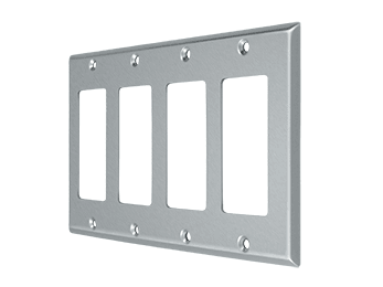 Quadruple Rocker Switch Plate - Brushed Chrome