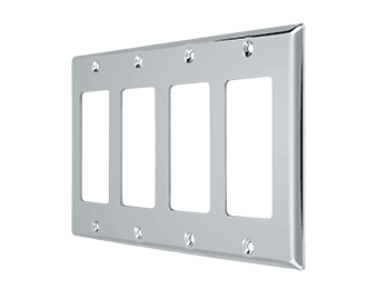 Quadruple Rocker Switch Plate - Polished Chrome