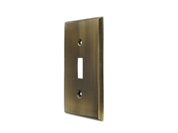 Single Toggle Standard Switch Plate - Antique Brass