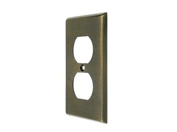 Duplex Outlet Switch Plate - Antique Brass
