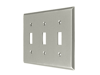 Triple Toggle Standard Switch Plate - Satin Nickel