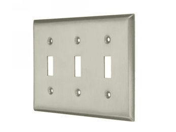 Triple Toggle Standard Switch Plate - Brushed Chrome