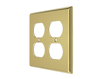Double Duplex Outlet Switch Plate - Polished Brass