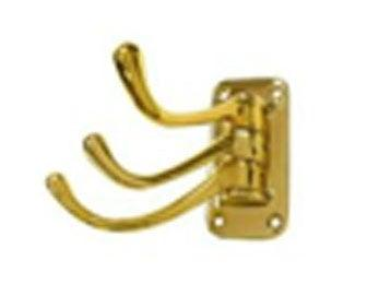 "Triple Swivel Hook, Heavy Duty, 4"" Projection - PVD - Polished Brass"
