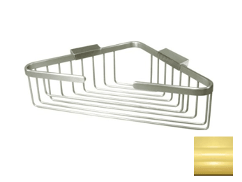 "Wire Basket, 13"" Corner Basket - PVD - Polished Brass"