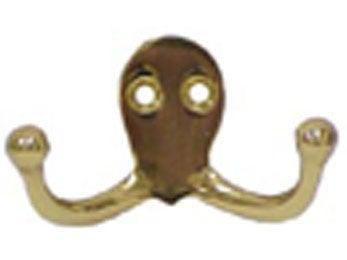 Solid Brass Double Hook - Polished Brass