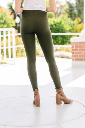 Fleece Lined Leggings In Olive