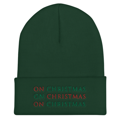 'On Christmas' Cuffed Beanie - Red - Green - Black