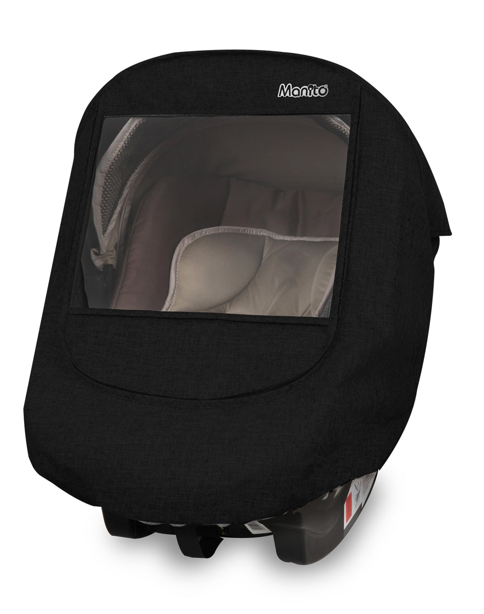Melange Infant Car Seat Weather Shield (Black)
