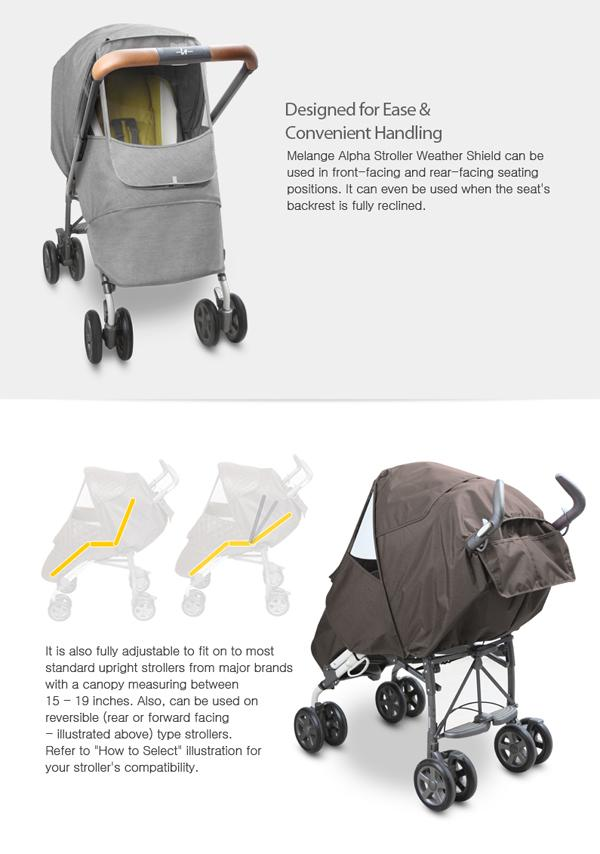 Melange Alpha Stroller Weather Shield (Light Grey)
