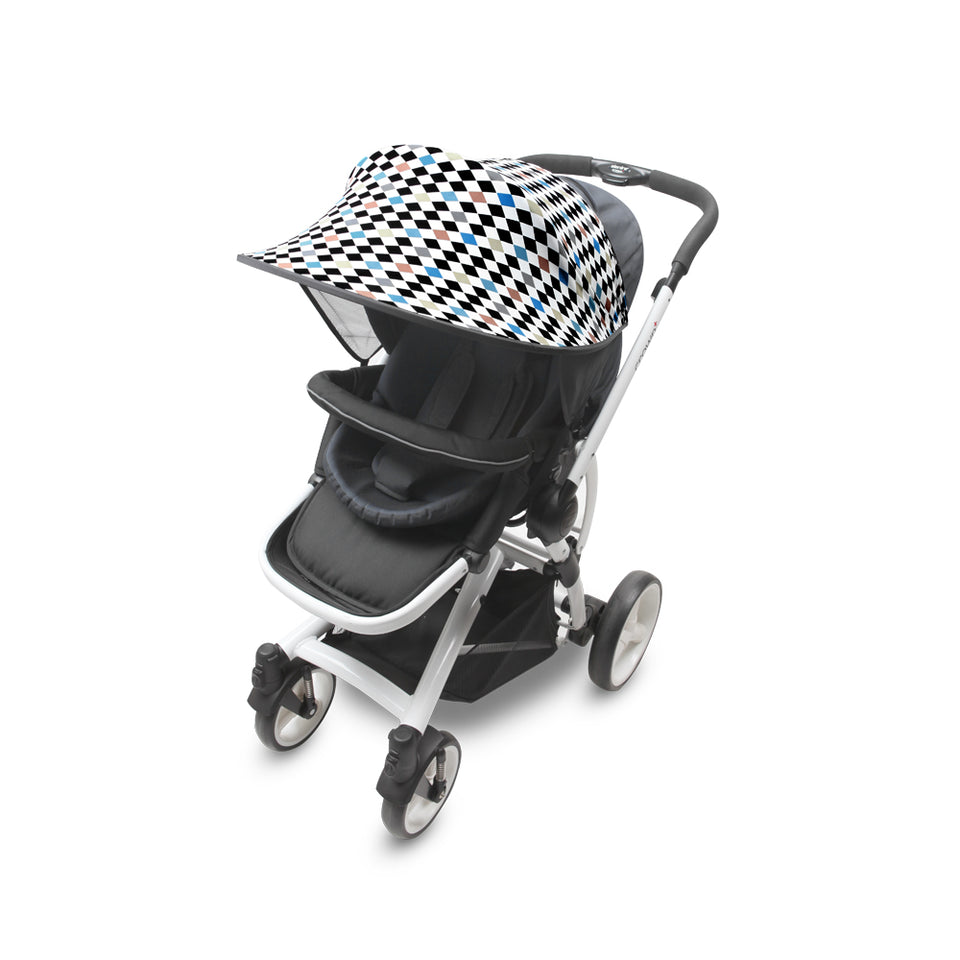 Sun Shade for Stroller & Car Seat - Scandi (Diamond Blue)