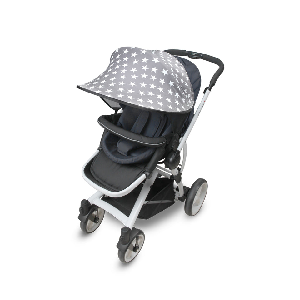 Sun Shade for Stroller & Car Seat - Scandi (Star Grey)