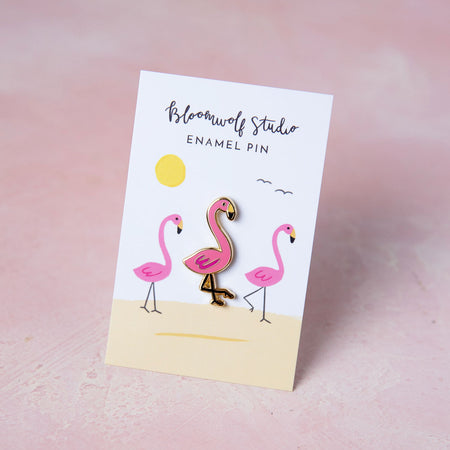 Flamingo Enamel Pin - Bloomwolf Studio 1 Pink Flamingo Pin