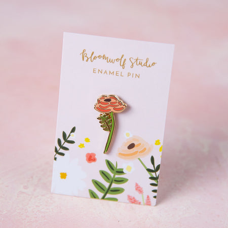 Single Rose Enamel Pin - Bloomwolf Studio One Green Stemmed Flower Pin, Peach and Orange Colored Flowers