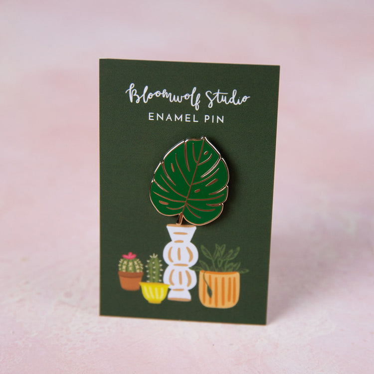 Monstera Leaf Enamel Pin - Bloomwolf Studio 1 Green Monstera Leaf Pin