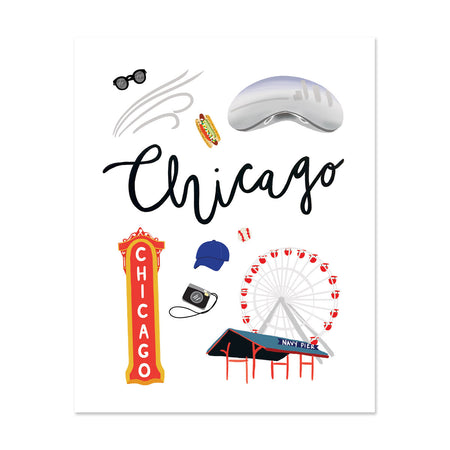 City Art Prints - Chicago - Bloomwolf Studio, About Things to Do in Chicago, Neutral and Bright Colors, State Landmarks + Historical Places + Notable Places