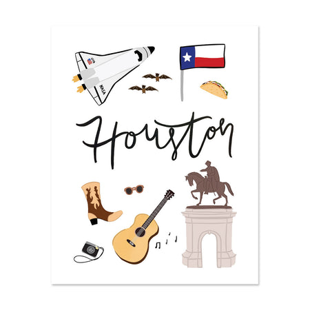 City Art Prints - Houston - Bloomwolf Studio Print About Things to Do in Houston, Neutral Colors, City Landmarks + Historical Places + Notable Places