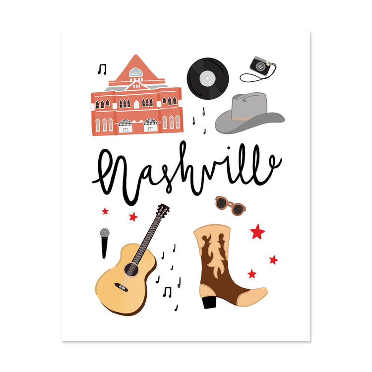 City Art Prints - Nashville - Bloomwolf Studio Print About Things to Do in Nashville, Neutral Colors, City Landmarks + Historical Places + Notable Places