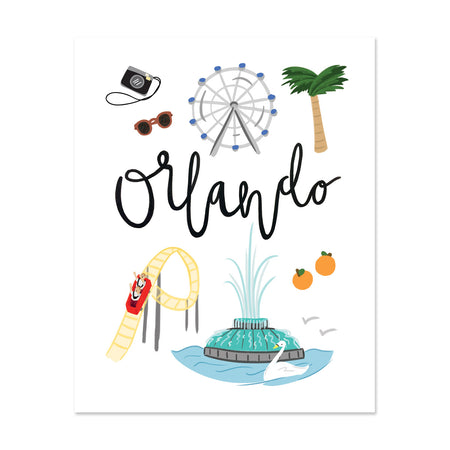 City Art Prints - Orlando - Bloomwolf Studio Print About Things to Do in Orlando, Bright Colors, City Landmarks + Historical Places + Notable Places,
