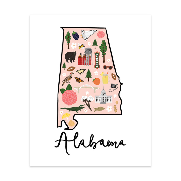 State Art Prints - Alabama - Bloomwolf Studio Print of Alabama Map, Things to Do, Bright Colors, State Landmarks + Historical Places + Notable Places