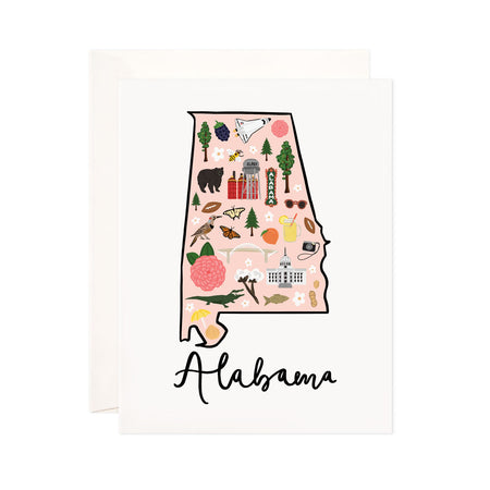 Alabama - Bloomwolf Studio Card About Things to Do in Alabama, Map, Bright Colors, State Landmarks + Historical Places + Notable Places