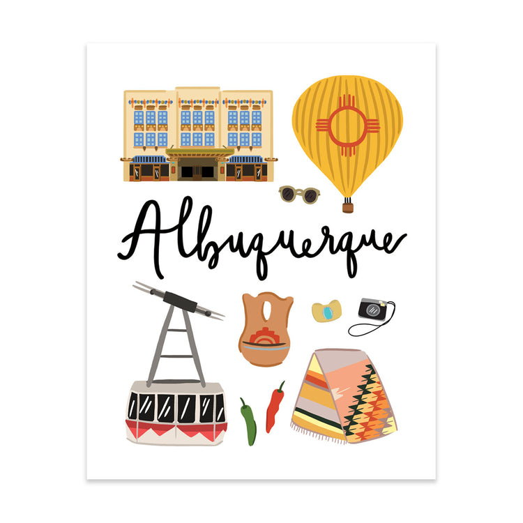 Albuquerque, Nm Art Print - Bloomwolf Studio Print About Albuquerque, Things to Do, Bright Colors, State Landmarks + Historical Places + Notable Places