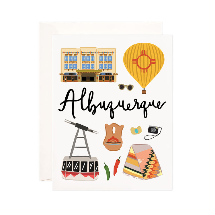 Albuquerque - Bloomwolf Studio Card About Things to Do in Albuquerque, Bright Colors, State Landmarks + Historical Places + Notable Places