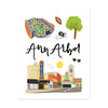 Ann Arbor, Mi Art Print - Bloomwolf Studio Print About Things to Do in Ann Arbor, Bright Colors, State Landmarks + Historical Places + Notable Places
