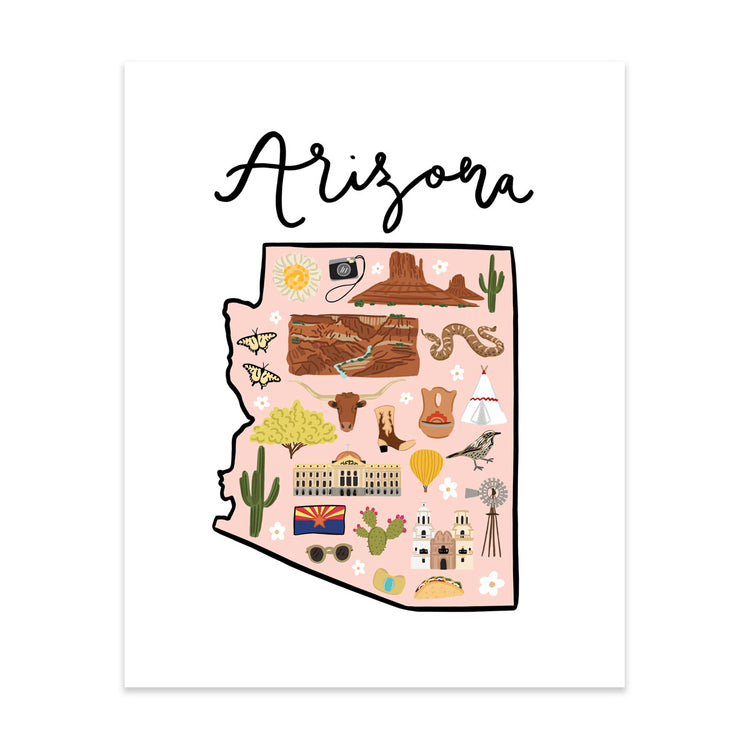State Art Prints - Arizona - Bloomwolf Studio Print of Arizona Map, Things to Do, Bright Colors, State Landmarks + Historical Places + Notable Places