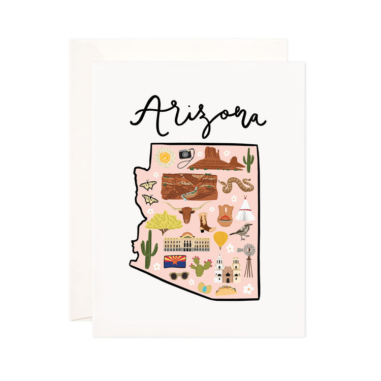 Arizona - Bloomwolf Studio Card About Things to Do in Arizona, Map, Bright Colors, State Landmarks + Historical Places + Notable Places