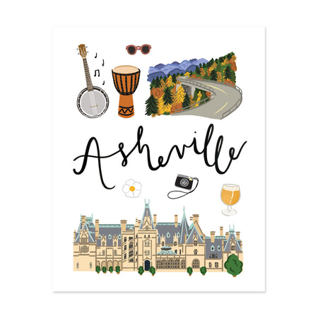 Asheville, Nc Art Print - Bloomwolf Studio Print of Things to Do in Asheville, Bright Colors, State Landmarks + Historical Places + Notable Places