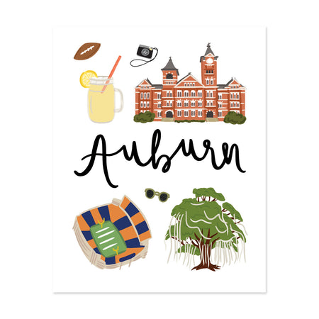 Auburn, Al Art Print - Bloomwolf Studio Print About Things to Do in Auburn, Bright Colors, State Landmarks + Historical Places + Notable Places