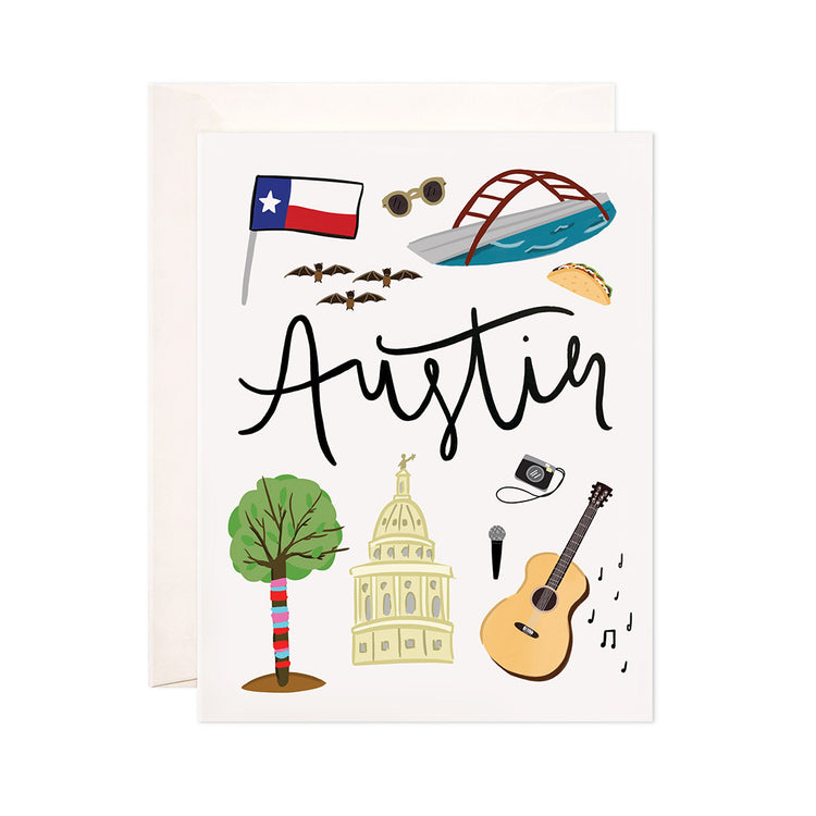 Austin - Bloomwolf Studio Card About Things to Do in Austin, Bright Colors, State Landmarks + Historical Places + Notable Places