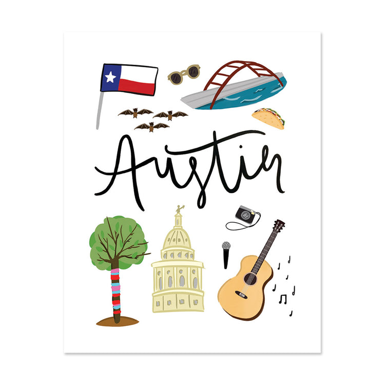 Austin, Tx Art Print - Bloomwolf Studio Print About Things to Do in Austin, Bright Colors, State Landmarks + Historical Places + Notable Places