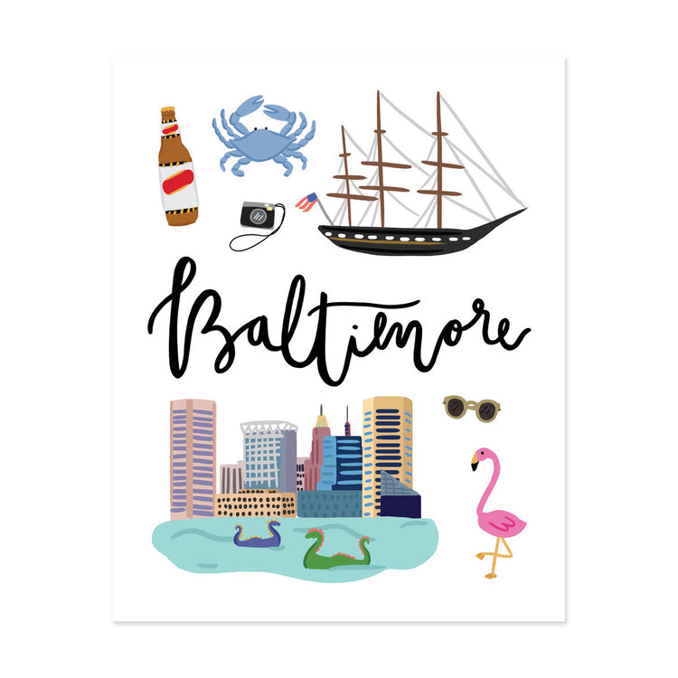 Baltimore, Md Art Print - Bloomwolf Studio Print About Things to Do in Baltimore, Bright Colors, State Landmarks + Historical Places + Notable Places