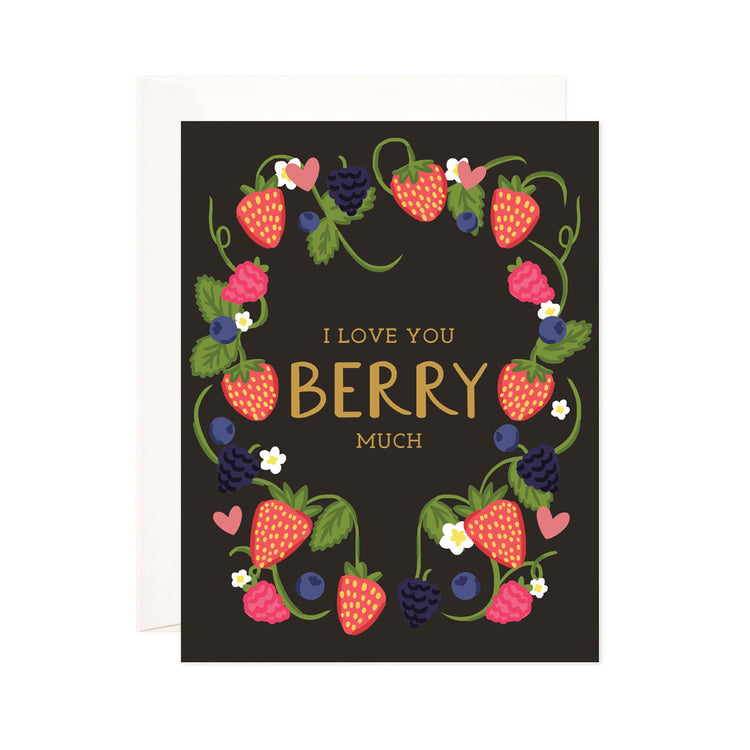Berry Much - Bloomwolf Studio Black Background Card That Says I Love You Berry Much in Gold Print, Pink, Red, Violet + Purple Berries