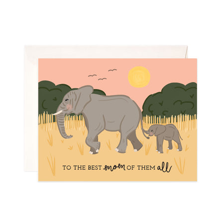 Best Mom - Bloomwolf Studio Mother's Day Card, Gray Baby Elephant Holding Her Mom's Tail, Pastel Colors Background