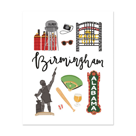 City Art Prints - Birmingham - Bloomwolf Studio Print on Things to Do in  Birmingham, Bright Colors, State Landmarks + Historical Places + Notable Places
