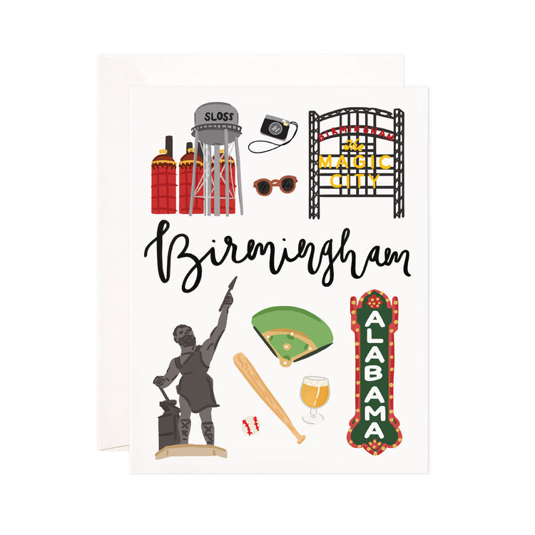 Birmingham - Bloomwolf Studio Card About Things to Do in Birmingham, Bright Colors, State Landmarks + Historical Places + Notable Places