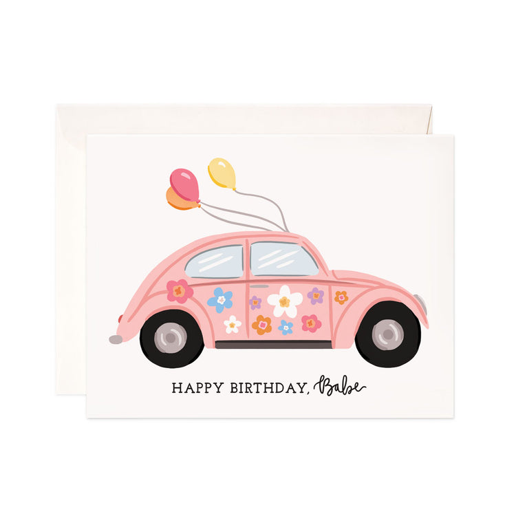 Birthday Babe - Bloomwolf Studio Birthday Card, Flowers in Pastel Colors, Light Pink Car, Yellow, Red, Orange Balloons