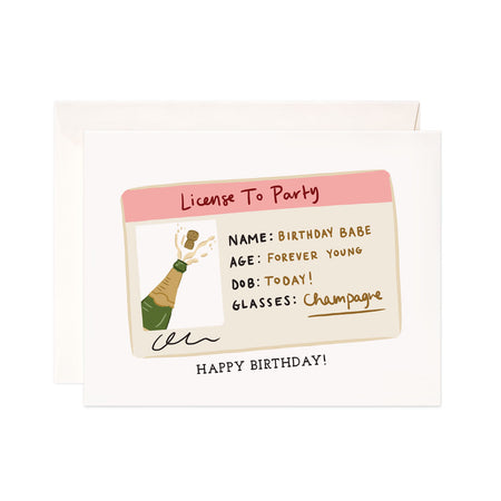 Birthday License - Bloomwolf Studio Birthday Card, Pink, Beige, Gold Colors License Id, Green Wine Bottle