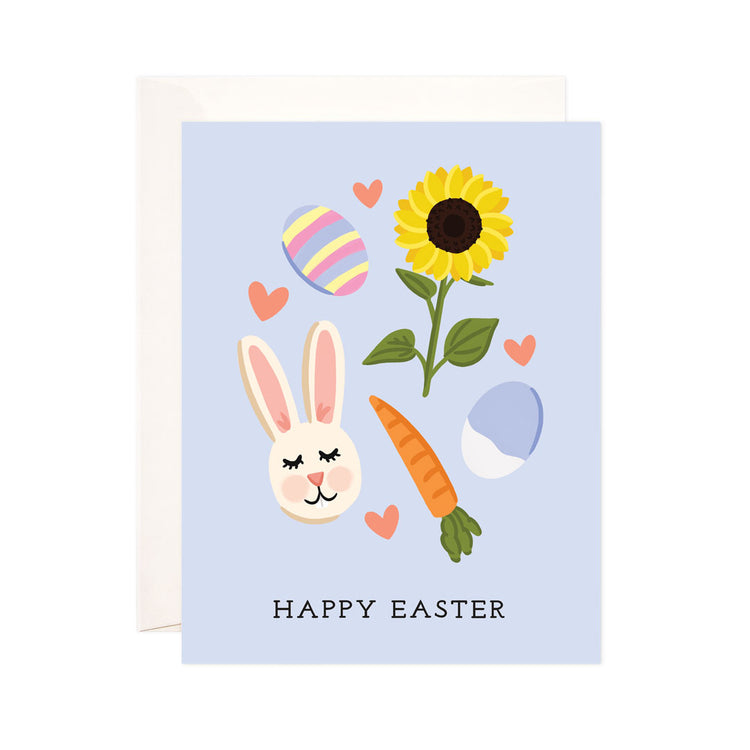 Blue Easter - Bloomwolf Studio Card That Says Happy Easter! Pastel Colors (blue, Yellow, Pink) With Bunny, Carrot, Sunflower, Egg.