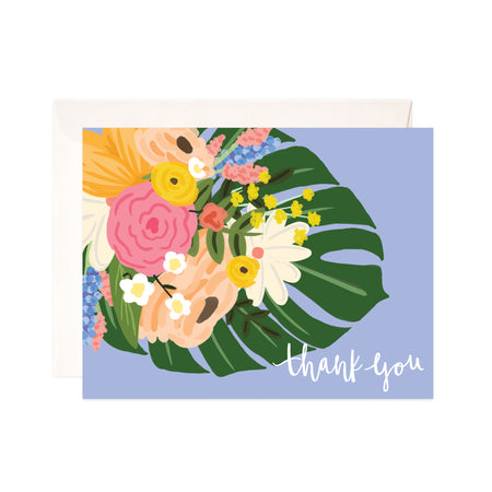 Blue Thank You - Bloomwolf Studio Thank You Card, Bouquet of Pink, Beige, Yellow, Blue and White Flowers, Monstera Leaf