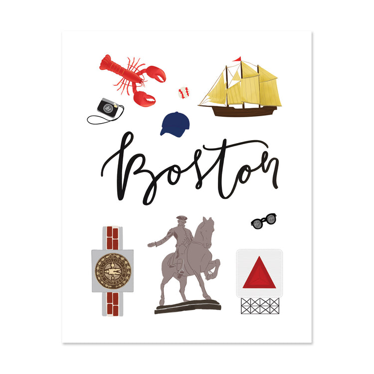 City Art Prints - Boston - Bloomwolf Studio About Things to Do in Boston, Bright Colors, State Landmarks + Historical Places + Notable Places