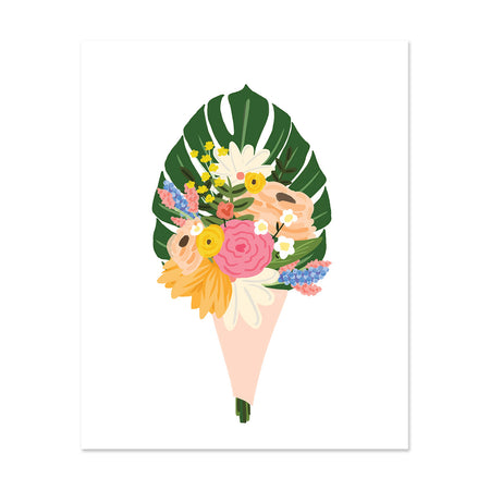 Bouquet Art Print - Bloomwolf Studio Print of Bouquet of Yellow, Pink, Beige, White and Blue Flowers, Monstera Leaf