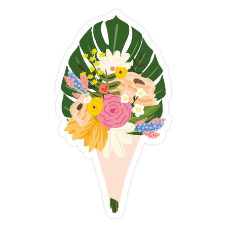 Bouquet Sticker - Bloomwolf Studio Bright Colors (orange, Pink, Beige, White, Blue) Flower Bouquet With Monstera Leaf
