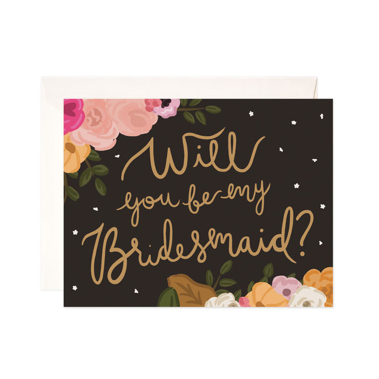 Bridesmaid Floral - Bloomwolf Studio Bright Colors Floral Card That Says Will You Be My Bridesmaid?, Black Background, Gold Print