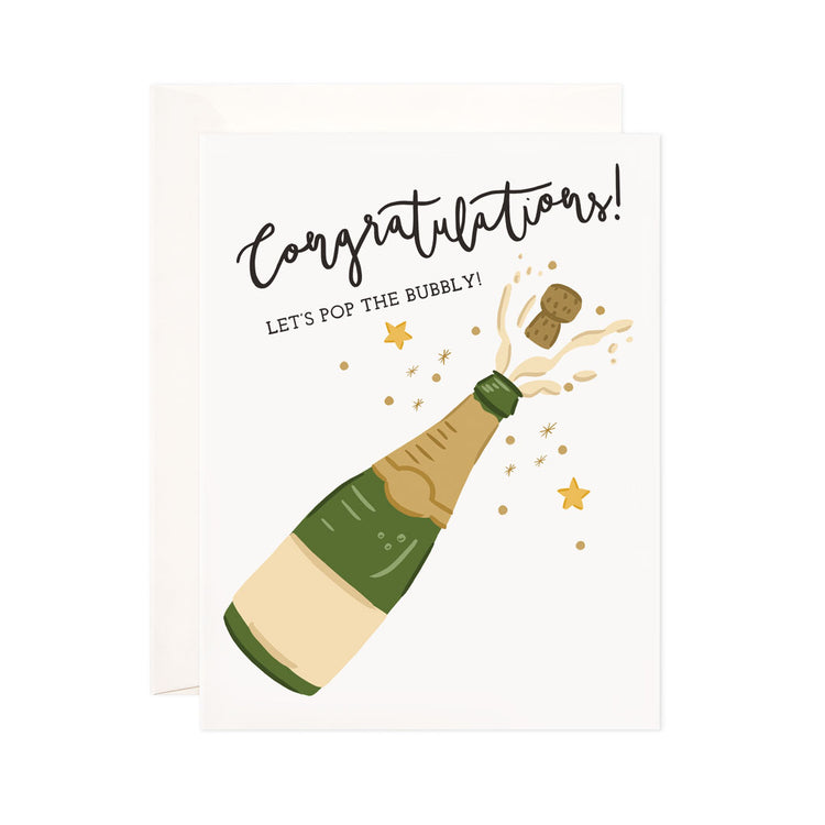 Bubbly Congrats - Bloomwolf Studio That Says Congratulations! Brown Cork Popped Out, Green Champagne Bottle