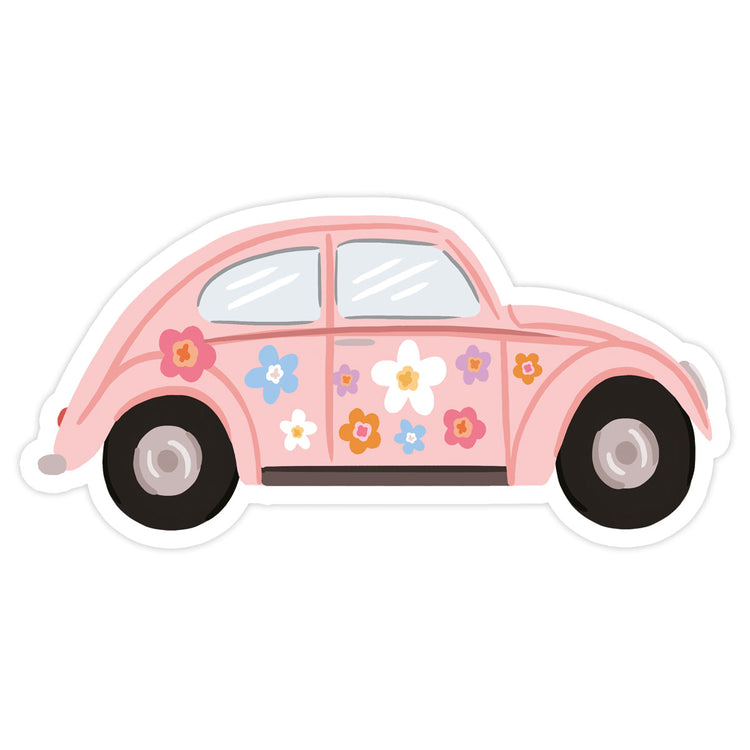 Buggie Sticker - Bloomwolf Studio Light Pink Buggie, Flowers in Pink, Blue, White, Violet + Purple, Orange Colors
