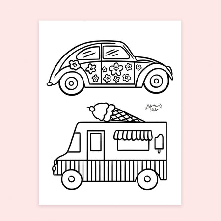 Buggie & Ice Cream Truck Coloring Sheet